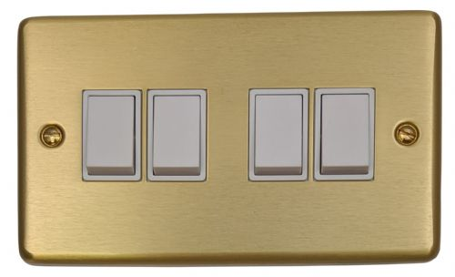 G&H CSB4W Standard Plate Satin Brushed Brass 4 Gang 1 or 2 Way Rocker Light Switch